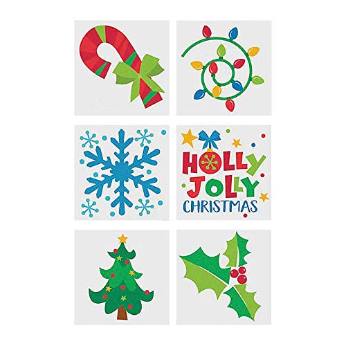Fun Express Christmas Holiday Glitter Temporary Tattoos for Birthday Party Favor or Decorations - 72 Pieces