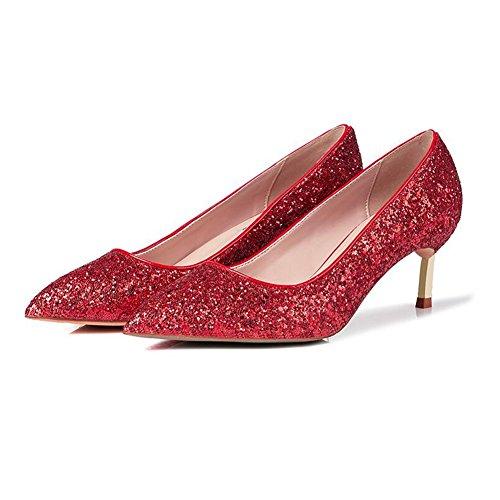 YIXINY Lentejuelas Zapatos Alto EU36 Fiesta 5 Color Mujer Zapatos de Boca Poco De Tacón 5cm UK4 tacón Tacón Tamaño Blanco Citas Rojo De Fino CN36 Apuntado Profunda Zapatos Vestido CtCxvqr