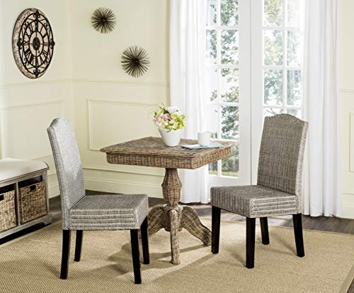Safavieh Home Collection Odette Antique Grey Wicker Dining Chair (Set of 2), 19