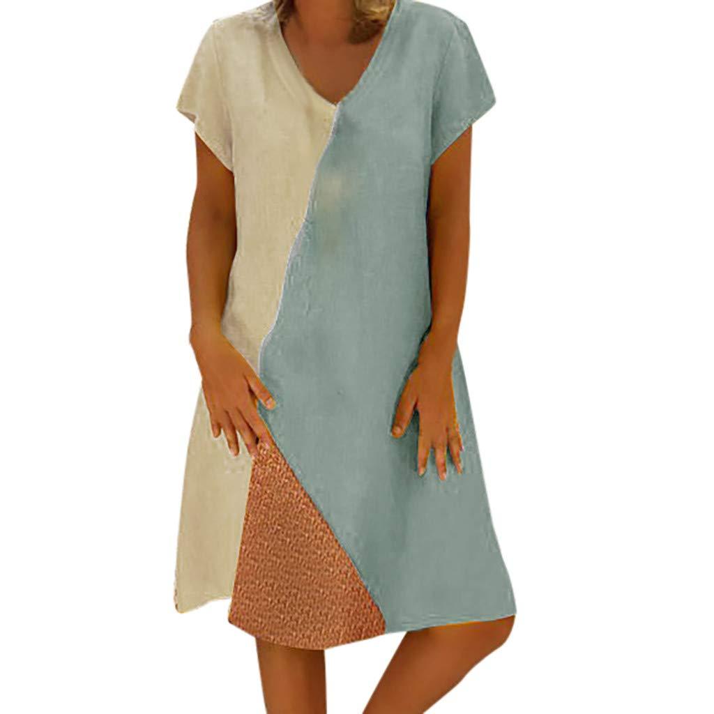 Women's Linen Midi Dress Color-Block Bohemian Enthnic Style Dress Summer Spring Casual Short Sleeve Loose Retro Dress (L)