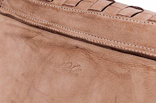 Ira del Valle, Borsa Donna, In Vera Pelle Intrecciata Vintage, Made in Italy, Modello West Coast Bag, Borsa Grande a Mano e Spalla con Tracolla da Donna Ragazza Cammello