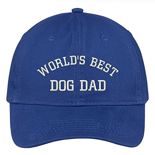 Deluxe Cotton Cap - Trendy Apparel Shop World's Best Dog Dad Embroidered Low Profile Deluxe Cotton Cap - Royal