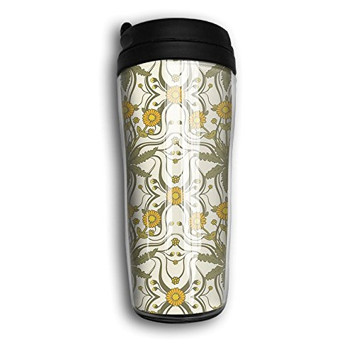Coffee Mugs, Vintage Sunflowers Milk Tea Drinking Water Bottle Coffee Mug Carry Hand Cup Reusable Plastic Curve Travel Mug Coffee Tumbler For Women Men Kids Teens Adults Fathers Day Gifts