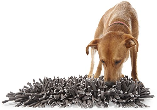 "512lTKJCfnL - Wooly Snuffle Mat - Feeding Mat for Dogs (12"" x 18"") - Grey Feeding Mat - Encourages Natural Foraging Skills - Easy to Fill - Fun to Use Design - Durable and Machine Washable - Perfect for Any Breed"
