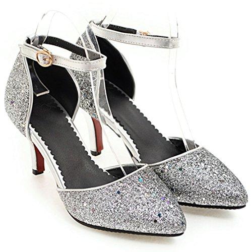 AIYOUMEI Damen Spitz Glitzer Knöchelriemchen Kleiner Absatz Pumps mit 5cm Absatz und Schnalle Stiletto High Heel Abend Schuhe Silber