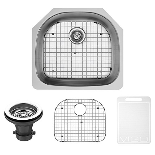 Soap Series Traditional Dispenser - VIGO 24 inch Undermount Single Bowl 18 Gauge Stainless Steel Kitchen Sink with Grid and Strainer