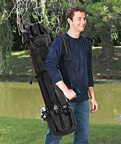 Fishing Rod Bag Backpack Storage Folding Travel Case Thicken Canvas Waterproof