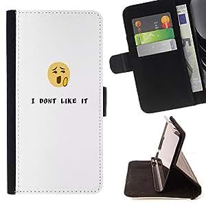 King Case - FOR Samsung Galaxy S6 EDGE - i don't like it - Prima caja de la PU billetera de cuero con ranuras para tarjetas, efectivo Compartimiento desmontable y correa para la mu?eca