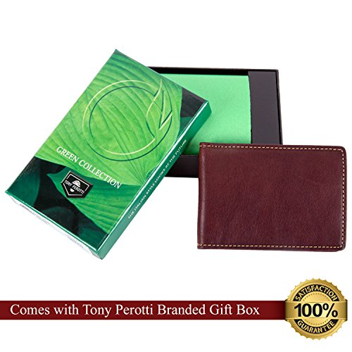 Amazon.com: Mens Leather Money Clip Bi Fold Wallet with Credit Card Slots and ID Window Minimalist Spring Tension Clip made with Real Italian Leather by ...