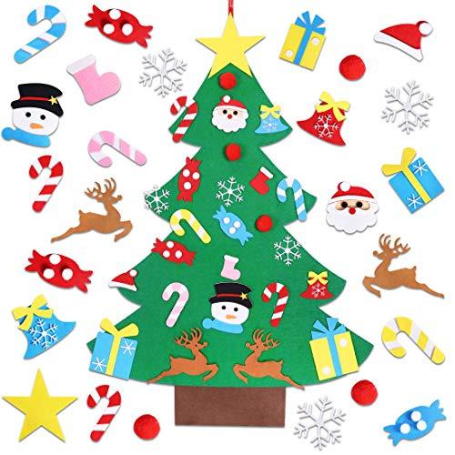Garma Childrens Felt Christmas Tree Set Ornaments DIY Home Decoration Wall Hanging Childrens Felt Craft Kits for Christmas, New Year, Various Festivals (Santa, Snowman, Reindeer)
