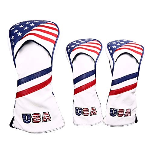 - 1 3 5 Golf Headcovers USA Stars and Stripes White Vintage Retro Patriotic Driver Fairway Wood Cover