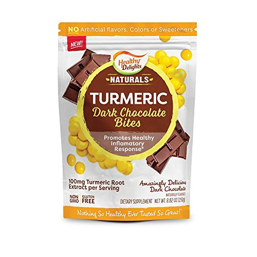 Healthy Delights Naturals, Turmeric Dark Chocolate Bites, Supporting Joint Support, Amazingly Delicious Snacks, Non-GMO, Gluten Free, 30 (Healthy Chocolate)