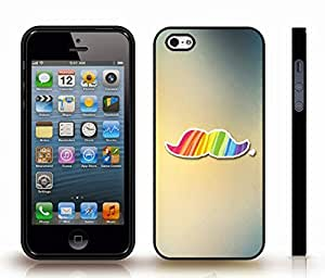 iStar Cases? iPhone 4 Case with Rainbow Mustache on Gradient Background , Snap-on Cover, Hard Carrying Case (Black)