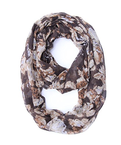 SAFERIN Soft Sheer Lightweight Infinity Star Scarf for Girls Women Loop Circle Scarves (Coffee Flower) (Stars Scarves Infinity)