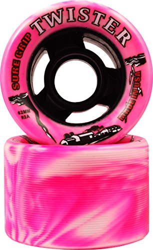 Sure Grip Twister Swirl Quad Indoor Speed Roller Skate Wheels Pink and White