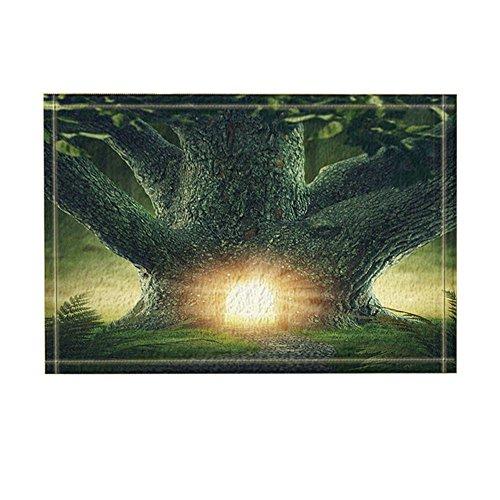 (NYMB Fantasy Decor, Enchanted Forest with Stone Wooden Door in Forest Bath Rugs, Non-Slip Doormat Floor Entryways Indoor Front Door Mat, Kids Bath Mat, 15.7x23.6in, Bathroom Accessories)