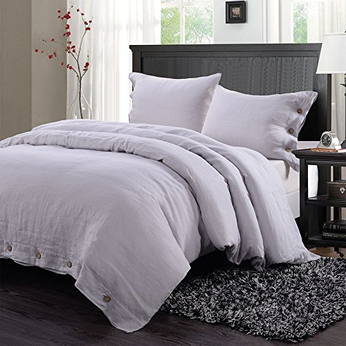 Simple&Opulence 100% Washed Linen Coconut Wood Deduction Solid Grey Bedding Set with 1 Duvet Cover 2 Pillowcases (Full, Light ()
