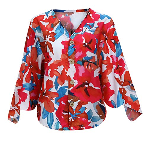 general3 Women Button Down Shirts Floral Print V Neck Flare Sleeve Kimono Top Loose Henley Shirt Blouse(Hot Pink,X-Large)