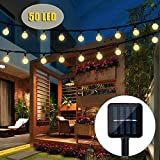 Solar String Lights, 50 LED Outdoor String Lights Garden Crystal Ball Decorative Lights 24Ft Waterproof Indoor Outdoor Fairy Lights for Garden, Patio, Yard, Christma