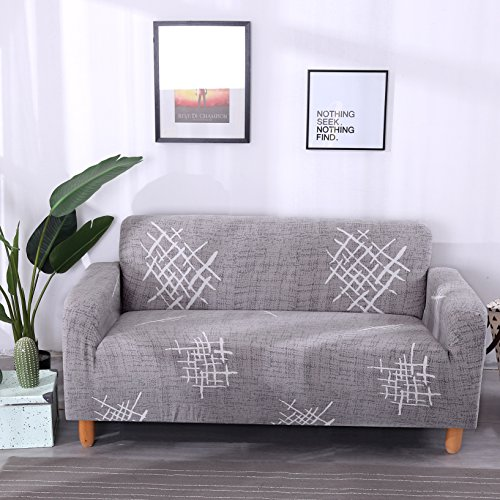 Lamberia Printed Sofa Cover Stretch Couch Cover Sofa Slipcovers for 4 Cushion Couch with One Free Pillow Case (Gray Pattern, Sofa-4 Seater) by Lamberia
