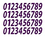 0-9 Numbers Plum Vinyl Sticker Decals Assorted Set of 40 Choose Size!! 1/2'' to 12'' (V546PlumItal) (4'')