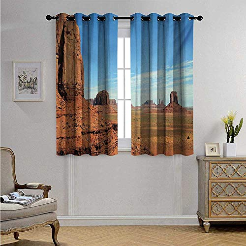 American Waterproof Window Curtain Scenic View of Monument Valley Sandstone Butte Rocks Wild West Desert Landscape Blackout Drapes W63 x L45(160cm x 115cm) Cinnamon - Pearl Pearl Antique Sandstone