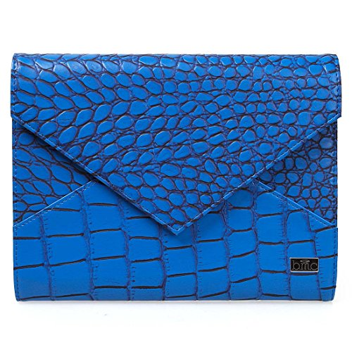 BMC Super Chic Cobalt Blue Faux Crocodile Leather XL Nail Stamping Plate Carrier Envelope Style Statement (9 Plate Clutch)