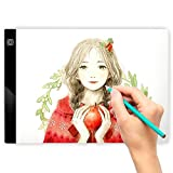 LED Light Box for Drawing, A4 Ultra Thin Portable Tracing Lightbox for Kid and Adult Artist, Stepless Dimmable Brightness Pad, USB Powered Projector Kit Best for Sketching w/ Clips
