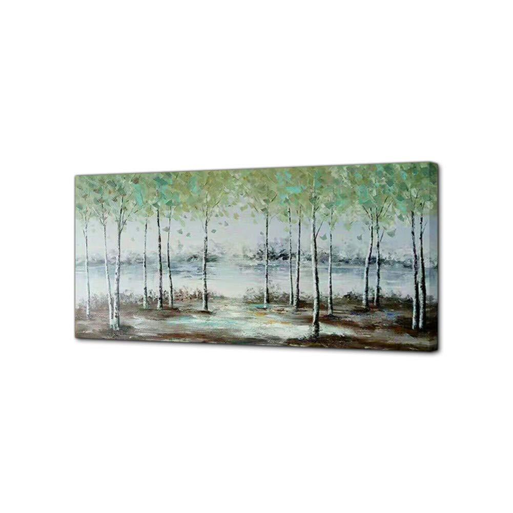 ERQINGYH Malerei Und Kalligraphie Handgemalte Grüne Wald Ölgemälde Bäume Wand Bild Große Leinwand Kunst Wohnzimmer Schlafzimmer Dekoration