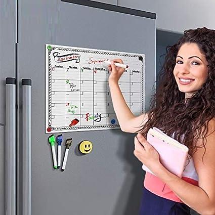 Pizarra magnética de borrado en seco, planificador diario mensual ...
