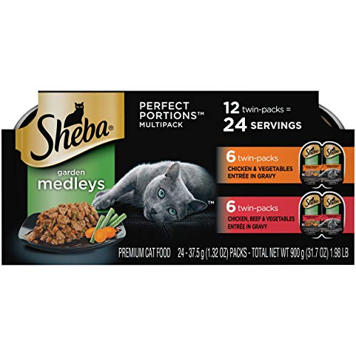 Sheba Perfect Portions Garden Medleys Cat Food Chicken & Vegetables And Chicken, Beef & Vegetables Entrée In Gravy Multipack, (24) 2.6 Ounce Twin-Pack Trays