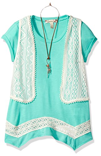 Twofer Girls Top (Speechless Big Girls' 2 Piece Shark Bite Hem with Vest, Jade, L)