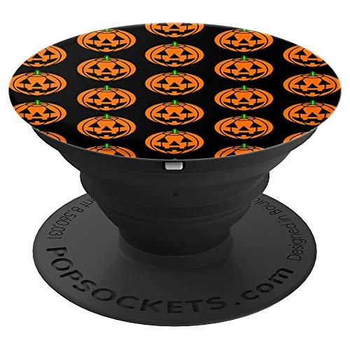Carved Pumpkin Pattern Jack-O-Lantern Halloween Cute Spooky - PopSockets Grip and Stand for Phones and Tablets -