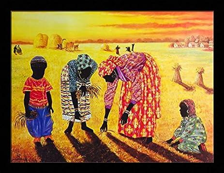Amazon.com: Harvest - Hulis Mavruk 18x24 Black Framed - African ...