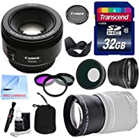 Canon Lens Kit With Canon EF 50mm f/1.8 STM Fixed Zoom/ Portrait Lens (49mm Thread) + Wide & Telephoto Auxiliary Lenses + 3 Piece Filter Kit + 32 GB Transcend SD Card-for Canon DSLR Cameras Benefits Review Image