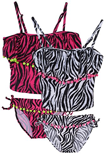 bda83a223a7b Galleon - 'Real Love Girls 2 Pack Tankini Bathing Suit Separates, Stripes  W/ Tassle, Size 5/6'