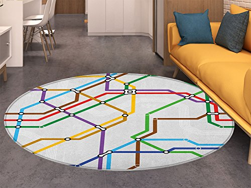 (Map Round Rugs for Bedroom Stripes in Vibrant Colors Metro Scheme Subway Stations Abstract Railroad Transportation Circle Rugs for Living Room Multicolor)