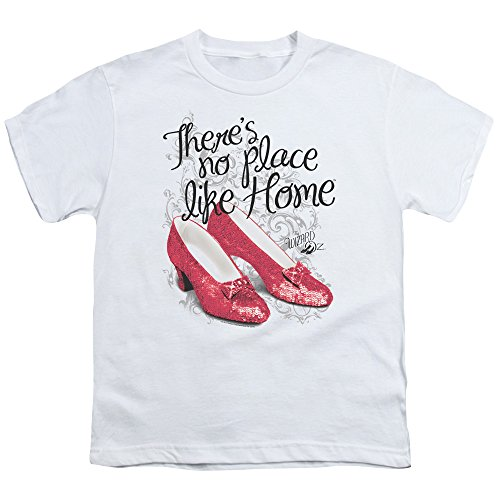 Wizard Of Oz Ruby Slippers Big Boys Youth Shirt (White, Large)