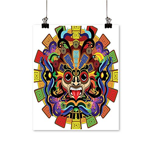 Alphabet Photo Style Manuscript - Modern Canvas Painting Wall Art Colorful Aztec Warrior Mask Ceremony Style Symbolic Manuscript Art Red Yellow B for Home Office,24