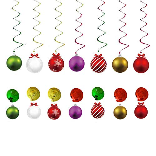 HOOPE 30Ct Balls Hanging Swirl Christmas Decorations for