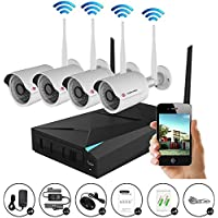 IMPORX 4CH 960P Wireless Home Surveillance Security Camera System, 4CH NVR & 4pcs 1.3MP WIFI Bullet IP Cameras, Remote View by IOS or Android App,Hard Disk not Included