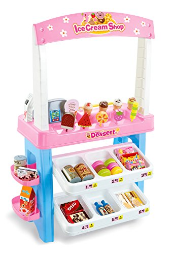 PowerTRC Ice Cream Shop 47 Piece Luxury Grocery Supermarket Pretend Playset Pink