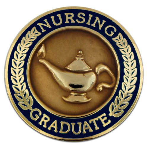 PinMart Navy Blue Lamp of Knowledge Nursing Graduate Enamel Lapel Pin