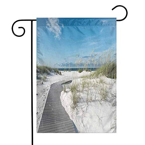 Mannwarehouse Beach Garden Flag Rustic Beach Pathway Heads to The Water in Florida Santa Rosa Island Summer Travel Premium Material W12 x L18 Cream Blue