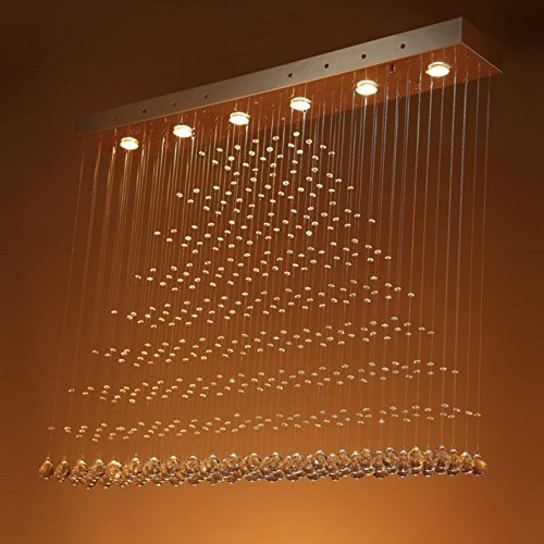 SEFINN FOUR E16387 Raindrop Design 6 Light Rectangular H39 W39 D8 Crystal Chandelier