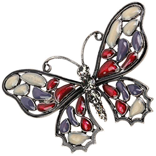 - Hiddleston Large Butterfly Brooch Pin Enamel Anique Silver Plated Brocah Crystal Jewelry Gift for Women Teen Girl Red & Purple