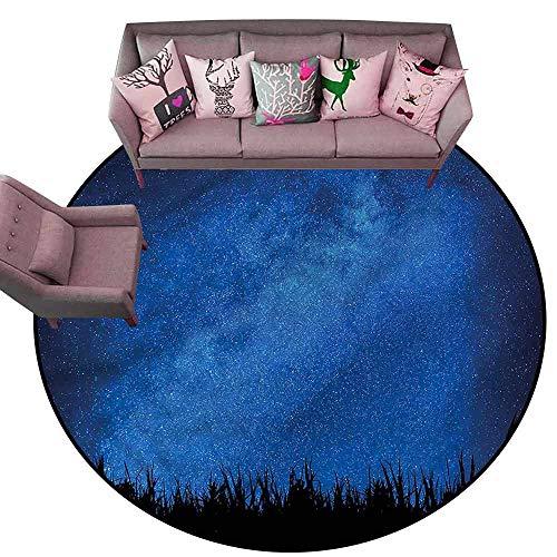 Floor Mat for Toilet Non Slip Star,Open Sky Scenery Grass Dark Diameter 66