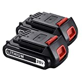 Powerextra 2 Pack 20v 2000mAh MAX Lithium Ion Replacement Battery for Black & Decker LBXR20 LBXR2020-OPE LB20 LBX20