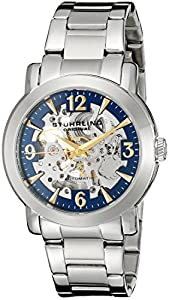 Stuhrling Original Delphi Canterbury Automatic Skeleton Blue Dial Men's Automatic Watch with Blue Dial Analogue Display and Silver Stainless Steel Bracelet 531G.33116