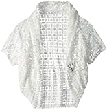 LAUNDRY BY SHELLI SEGAL Women's Geo Lace Ruffle Cocoon, White, One Size